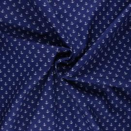 Poppy poplin cotton fabric - navy blue Marine x 10cm