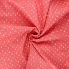 Tissu coton popeline Poppy Marine - corail x 10cm