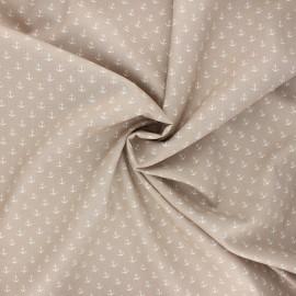 Poppy poplin cotton fabric - sand Marine x 10cm