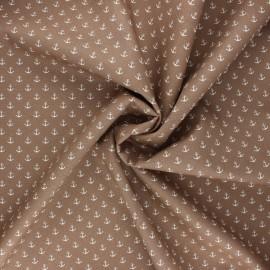 Poppy poplin cotton fabric - taupe Marine x 10cm