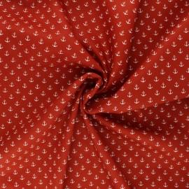 Poppy poplin cotton fabric - rust Marine x 10cm