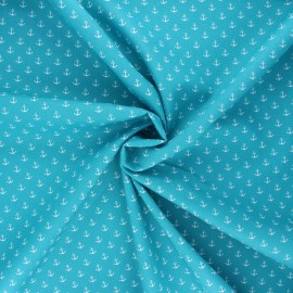 Poppy poplin cotton fabric - turquoise Marine x 10cm