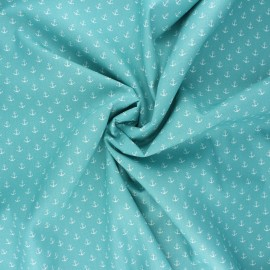 Poppy poplin cotton fabric - sarcelle Marine x 10cm
