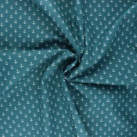 Poppy poplin cotton fabric - duck blue Marine x 10cm