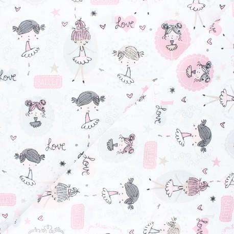 Tissu coton cretonne Opera dancer - blanc x 10cm