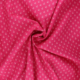 Tissu coton popeline Poppy Marine - rose bonbon x 10cm