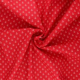 Tissu coton popeline Poppy Marine - rouge x 10cm