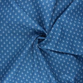 Poppy poplin cotton fabric - swell blue Marine x 10cm