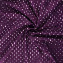 Tissu coton popeline Poppy Marine - violet  x 10cm