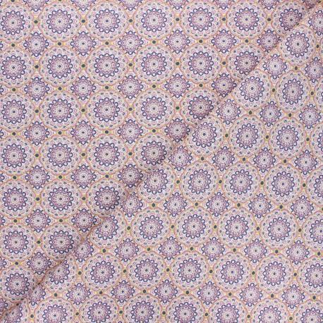 Tissu coton cretonne Canaletes - violet x 10cm