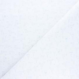 Tissu coton cretonne Indian tipi - blanc x 10cm