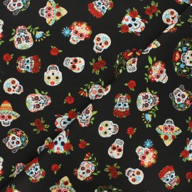 Cretonne cotton fabric - black Mexican skull x 10cm