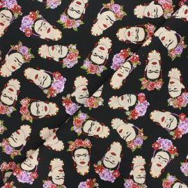 Cretonne cotton fabric - black Frida'loa x 10cm