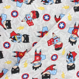 Canvas polycotton fabric - grey Heroes x 10cm