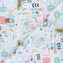Canvas polycotton fabric - white Living garden x 10cm