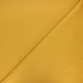 Embroidered cotton voile fabric - mustard yellow Adèle x 10cm