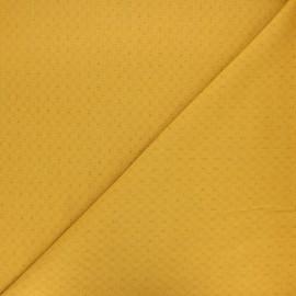 Tissu voile de coton brodé Adeline - jaune moutarde x 10cm