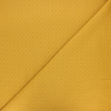 Tissu voile de coton brodé Adèle - jaune moutarde x 10cm
