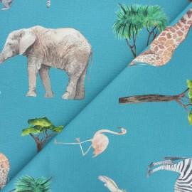Cotton canvas fabric - duck blue On safari x 10cm