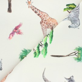 Cotton canvas fabric - raw On safari x 10cm