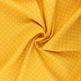 Tissu coton popeline Poppy Marine - jaune mimosa  x 10cm