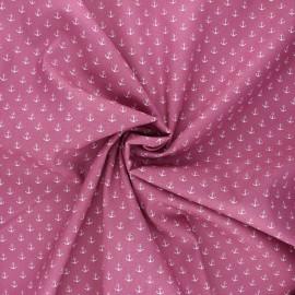 Tissu coton popeline Poppy Marine - bois de rose x 10cm
