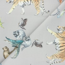 Cotton canvas fabric - grey Animal Kingdom x 80cm