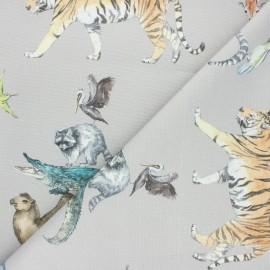 Tissu toile de coton Animal Kingdom - gris x 80cm