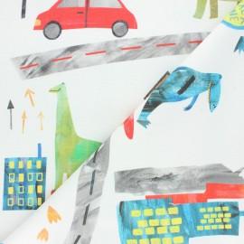 Tissu toile de coton Dino city - écru x 70cm