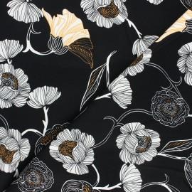 Tissu gabardine élasthanne Flowers - noir x 10cm
