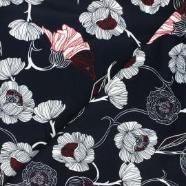 Tissu gabardine élasthanne Flowers - bleu nuit x 10cm