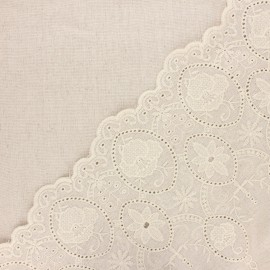 Scalloped embroidered linen and viscose fabric - natural Yvonne x 10 cm