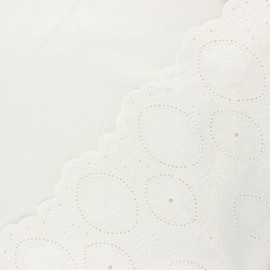Scalloped embroidered linen and viscose fabric - raw Yvonne x 10 cm