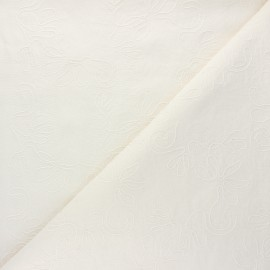 Embroidered linen and viscose fabric - raw Eugénie x 10 cm