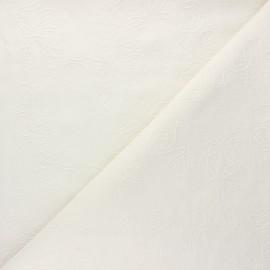 Tissu lin viscose brodé Eugénie - écru x 10 cm