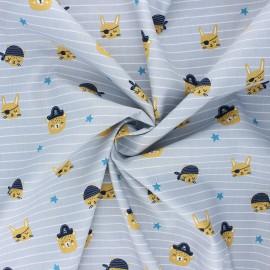 Poppy poplin cotton fabric - light grey Pirate animals gang x 10cm