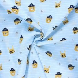 Poppy poplin cotton fabric - light blue Pirate animals gang x 10cm