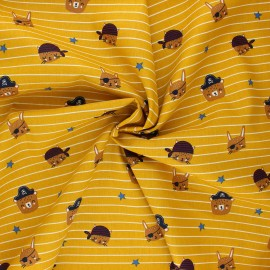 Poppy poplin cotton fabric - mustard yellow Pirate animals gang x 10cm