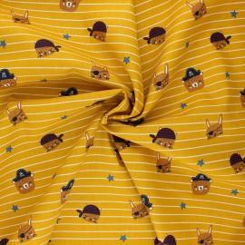 Tissu coton popeline Poppy Pirate animals gang - jaune moutarde x 10cm