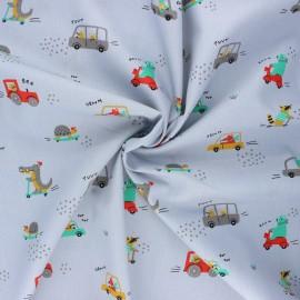 Tissu coton popeline Poppy Sweet traffic - gris clair x 10cm