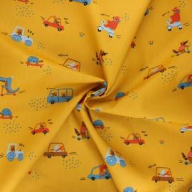Tissu coton popeline Poppy Sweet traffic - jaune moutarde x 10cm