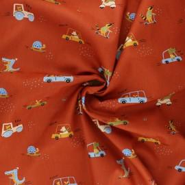 Poppy poplin cotton fabric - rust Sweet traffic x 10cm