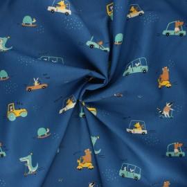 Tissu coton popeline Poppy Sweet traffic - bleu marine x 10cm