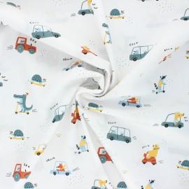 Poppy poplin cotton fabric - white Sweet traffic x 10cm