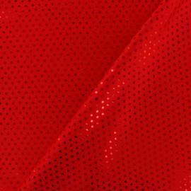 Tissu Lycra Plumetis rouge x 10cm