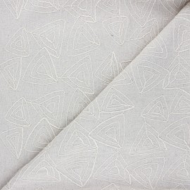 Embroidered linen and viscose fabric - natural Aoda x 10 cm