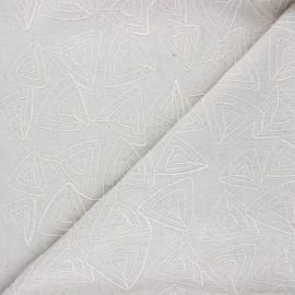 Tissu lin viscose brodé Aoda - naturel x 10 cm