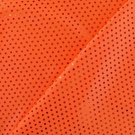 Tissu Lycra Plumetis orange x 10cm