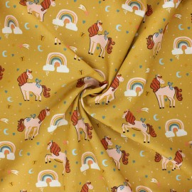Tissu coton popeline Poppy Unicorns and rainbows - jaune curry x 10cm