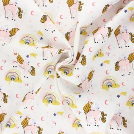 Tissu coton popeline Poppy Unicorns and rainbows - blanc x 10cm